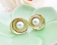 Lotus Ear Posts with Pearl