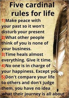 A Large Regular: Five Cardinal Rules for Life Rules to make your life more at peace♥♥ Quotable Quotes, Wisdom Quotes, True Quotes, Great Quotes, Quotes To Live By, Motivational Quotes, Inspirational Quotes, At Peace Quotes, Funny Quotes