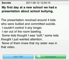 Omg when I read this it just made my heart drop it's sad how bullies can just take over u by just saying one little thing that might be so big and hurt you where your heart is. stop bullying! Stories That Will Make You Cry, Sad Love Stories, Touching Stories, Sweet Stories, Cute Stories, Sad Quotes, Inspirational Quotes, Try Not To Cry, Faith In Humanity Restored