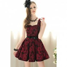 $15.12 Stylish and Charming Rose Embellished Sleeveless Dress For Women