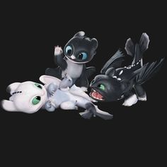 httyd_wallpapers:「 These are night lights a cross breed between night and light furies. Dragons Le Film, Httyd Dragons, Cute Dragons, Httyd 3, Hiccup, Cute Disney, Disney Art, Kawaii Dragon, Toothless And Stitch