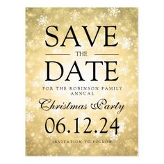 Christmas Party Save The Date Winter Gold Postcard - christmas cards merry xmas family party holidays cyo diy greeting card