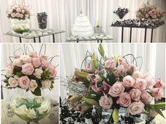 Arranjos da mesa do Bolo - Casamento Rosa e Branco
