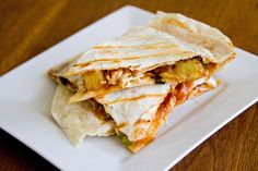 """BBQ Chicken and Pineapple Quesadillas  - Target has """"Hawaiian"""" BBQ sauce which is a little bit spicier to balance out the tang of the pineapple.  Or any of Dinosaur BBQ's sauces are fantastic.  I don't have a big grill, but I do have a Foreman grill and these turn out perfect every time.  Delicious!"""