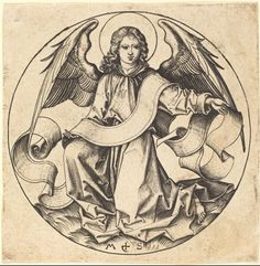"""The Angel of Saint Matthew"" (c.1490), Martin Schongauer (c.1450-1491), Engraving. Rosenwald Collection. Hollstein, no.72, National Gallery of Art. Washington DC, United States. #angels"