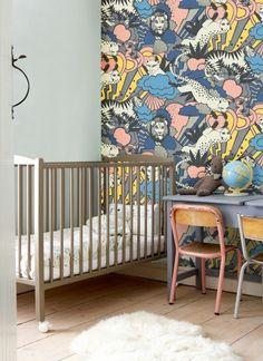 make jungle kids wallpaper nursery cot desk