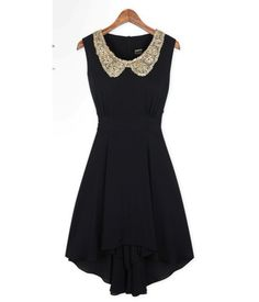 Black High Low Dress with Shining Gold Collar