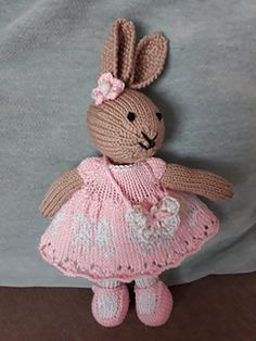 Cast on 98 st Rows of lace dress 2 patternlink text Row st st Start butterfly chart on row repeat butterfly with 3 stitches between each repeat to end of row. Knitted Bunnies, Knitted Teddy Bear, Crochet Teddy, Knitted Animals, Crochet Bunny, Crochet Toys, Knitted Doll Patterns, Animal Knitting Patterns, Knitted Dolls