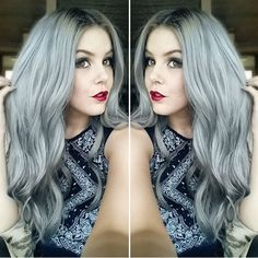 Silver hair, granny, Pure gray hair color shown by our girls, the effect is amazing~ come and have this new choice