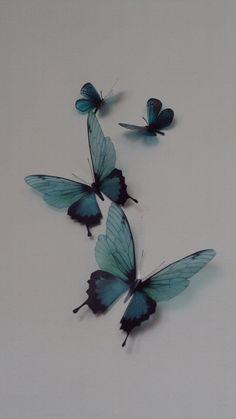 4 Luxury Amazing Teal Blue Butterflies Butterfly Wall Art by MyButterflyLove on Etsy Butterfly Wall Art, Butterfly Wallpaper, Blue Butterfly Tattoo, Butterfly Tattoo On Shoulder, Butterfly Design, Bild Tattoos, Body Art Tattoos, Trendy Tattoos, Cool Tattoos