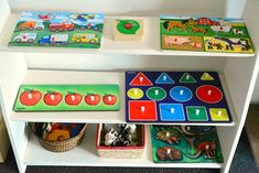 Puzzle Shelf organization - Include colors, shapes & numbers.