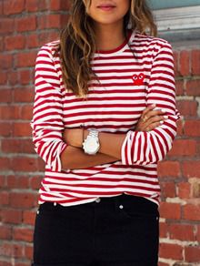 Red White Long Sleeve Striped T-Shirt -SheIn(Sheinside)