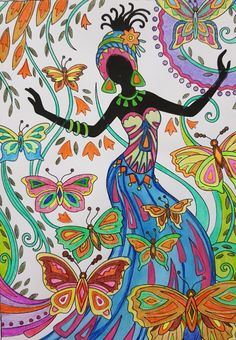 #watercoloring #colorpencil #gelpens by Pauline Rasta Art, African Art Projects, Kerala Mural Painting, African Colors, African Art Paintings, Star Painting, Art Africain, Africa Art, Color Pencil Art