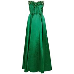 Preowned 1950's Helga Emerald-green Beaded Satin Strapless Bombshell... (73.420 RUB) ❤ liked on Polyvore featuring dresses, multiple, strapless cocktail dresses, formal dresses, evening dresses, green cocktail dress and formal cocktail dresses