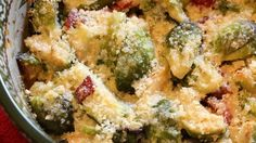 Brussels sprouts are smothered and covered in bacon and cream, then baked to perfection.