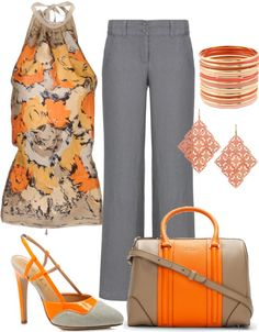 """orange and gray"" by tarleemac on Polyvore"
