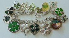 Vintage Sterling Charm Bracelet Clover Shamrock Lucky St Patrick's Day Charms | eBay