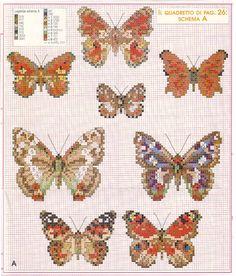 Schema punto croce Farfalle 9