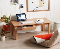 Ash Floor Table w/drawer, Low Japanese Style Laptop PC Desk Home Design, Japanese Style Bedroom, Japanese Living Rooms, Japanese Style House, Floor Desk, Floor Chair, Japanese Apartment, Pc Table, Floor Sitting
