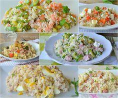 Raccolta di primi piatti freddi estivi con il riso
