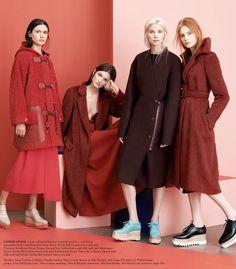 visual optimism; fashion editorials, shows, campaigns & more!: technicolor dream coats: iana godnia, dasha gold, carly moore and anna piirainen by driu & tiago for wsj september 2014