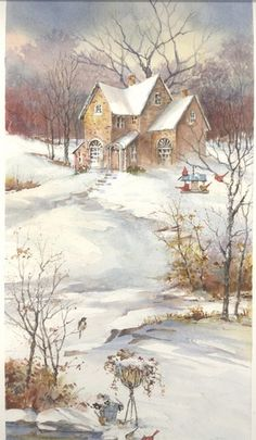 When cold winds blow. ~ by Carolyn Shores Wright ~ (winter, snow, landscape… Images Vintage, Vintage Christmas Images, Christmas Pictures, Illustration Noel, Christmas Illustration, Christmas Scenes, Christmas Art, White Christmas, Winter Szenen