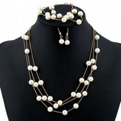 Artificial Pearl Necklace Earrings and Bracelet