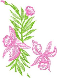 Orchids free embroidery design 2 - Flowers free machine embroidery designs - Machine embroidery community