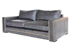 "87"" Top Grain Leather Old Saddle Black Sofa Nail Head Trim Distressed Retro Look- $3,925.00"
