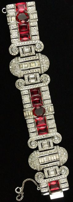 DeRosa Pave Baguettes and Rubies Deco Articulated Link Bracelet