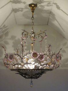 Antique Chandelier, Chandeliers, Chandelier Lighting, French Chandelier, Floral Chandelier, Pretty Lights, Beautiful Lights, I Love Lamp, Deco Boheme