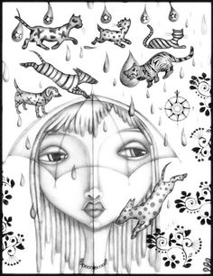 "sketch ""Raining Cats & Dogs' by Leoh"