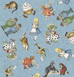 Alice in Wonderland fabric pattern