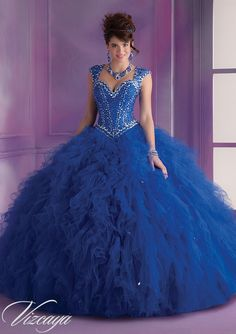 Quinceanera Gowns Style 89014: 89014 Ruffled Tulle with Beading  http://www.morilee.com/quinceanera/quinceanera_vizcaya/89014