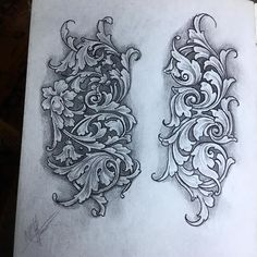 Ideas For Book Tattoo Designs Drawings Illustrations Swirl Tattoo, Filigree Tattoo, Jewel Tattoo, Tattoo Design Drawings, Tattoo Designs, Monogram Stencil, Traditional Tattoo Flowers, Schrift Tattoos, Tattoo Lettering Fonts