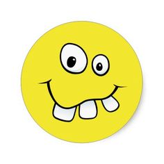 funny smiley face | Funny goofy smiley face with big teeth, yellow sticker at Zazzle.ca