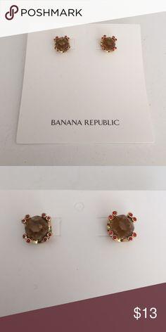 Banana Republic stud earrings Banana Republic taupe stud earrings w/ orange stones, never used no scratches Banana Republic Jewelry Earrings