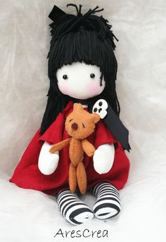 Sophie #handmade #doll with #teddybear by AresCrea. Please come and visit my FB page. Thank you <3