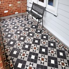 Olde English Tiles Australia - Liverpool pattern with Norwood border Victorian Fireplace Tiles, Victorian Tiles, Tiled Fireplace, Tile Steps, Door Steps, Minton Tiles, Geometric Tiles, Geometric Shapes, Porch Tile