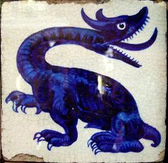Dragon tile by William de Morgan, Chelsea 1878-82   Birmingham Museum