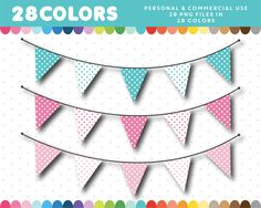 Polka dots pennant banner clipart in 28 colors, Pennant Banners, Bunting Banner, Flag Template, Website Template, Triangle, Polka Dots, Clip Art, Stickers, Digital