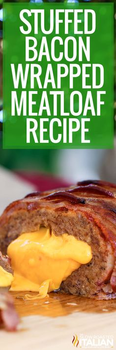 Bacon wrapped meatloaf is tender, juicy, and bursting with bold flavors! Make this recipe tonight with fresh ingredients and pantry staples. #StuffedBaconWrappedMeatloaf #Meatloaf #ComfortFood Good Meatloaf Recipe, Meatloaf Recipes, Meat Recipes, Dinner Recipes, Cooking Recipes, Dinner Ideas, Homemade Meatloaf, Delicious Recipes, Cheese Burger