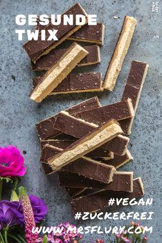 Gesunde Twix vegan und ohne weissen Zucker #gesund #naschen #zuckerfrei #vegan #backen #riegel #twix #gesunderezepte #snacks #mrsflury