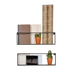 Półka ścienna MEERT metalowa czarna - Woood - Nordic Decoration Home