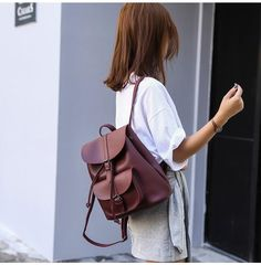 Women Backpack Vintage Leather Drawstring School Bag Black Rucksack Brand Shoulder Bags For Teenage Girls Female Backpacks XA23H Outfit Accessories From Touchy Style | Black, Brown, Cool Backpack, For Girl, For School, For Women's, Green, Leather, Outfit Accessories, Red, Vintage. | Free International Shipping.