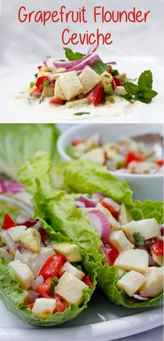 This light and refreshing Grapefruit Flounder Ceviche is a cold seafood salad that's perfect for hot summer days! champagne-tastes.com