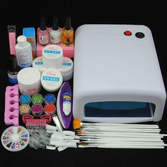 36W UV Lamp Dryer Nail Art UV Gel Topcoat Acrylic Powder Glitter Tips Kit Sets #Unbranded