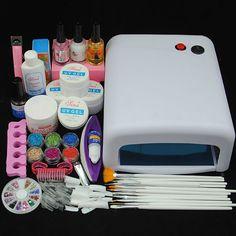 36W UV Lamp Dryer Nail Art UV Gel Topcoat Acrylic Powder Glitter Tips Kit Sets #Unbranded