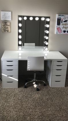 Make-up room inspiration! I love this vanity in my makeup room! Ikea Alex drawers make-up room inspiration! I love this vanity in my makeup room! Ikea Alex drawers Source b Cute Room Decor, Teen Room Decor, Baby Girl Room Decor, Sala Glam, Ikea Alex Drawers, Ikea Alex Desk, Makeup Room Decor, Ikea Inspiration, Design Inspiration