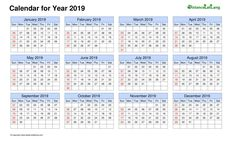 2019 Blank Calendar horizontal grid (Sunday to Saturday) Yearly